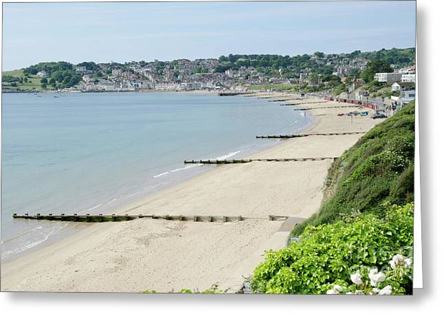 Morning Greeting Cards - BEACH VIEW Swanage Bay sandy beach Jurassic coast Dorset England UK Greeting Card by Andy Smy