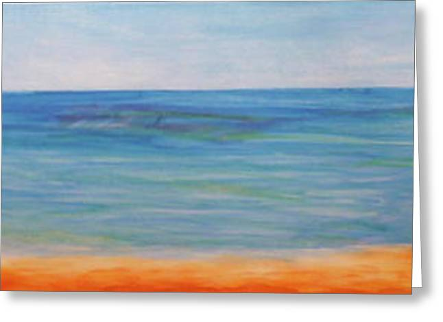 Lounge Paintings Greeting Cards - Beach Walk Greeting Card by Monika Shepherdson