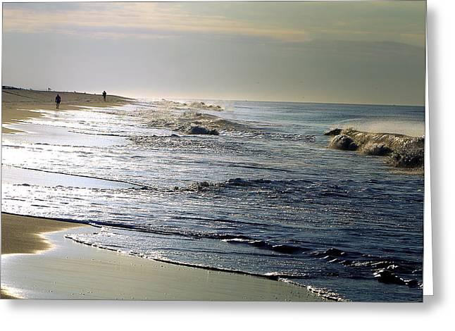 York Beach Greeting Cards - Beach Walk Greeting Card by Vicki Jauron