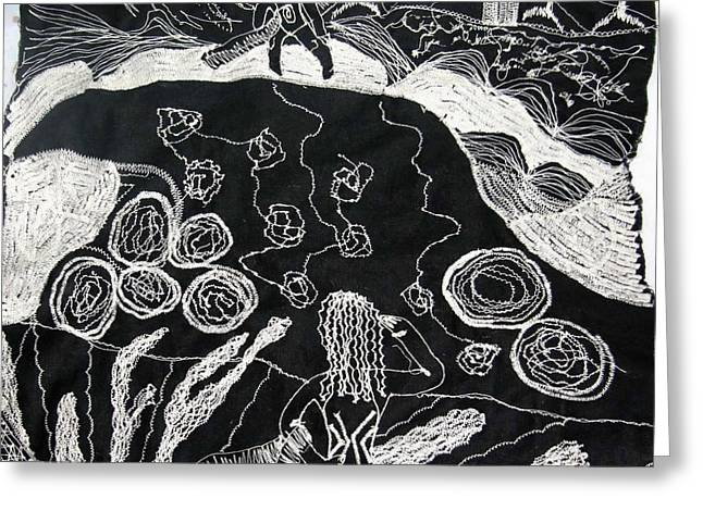 Black-and-white Tapestries - Textiles Greeting Cards - Beach walking on rocks Greeting Card by Karen Elzinga