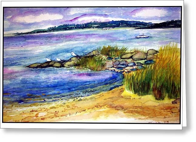 Nature Center Drawings Greeting Cards - Beach with birds Greeting Card by Siona Koubek