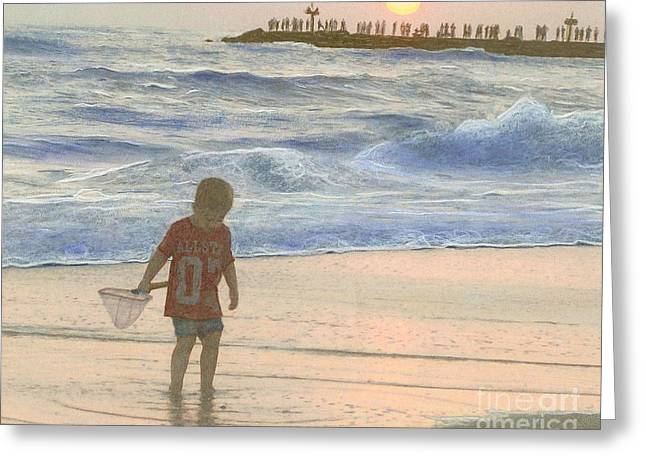 Beach Photograph Pastels Greeting Cards - Beachcomber Greeting Card by Mona Younavjak Hansen