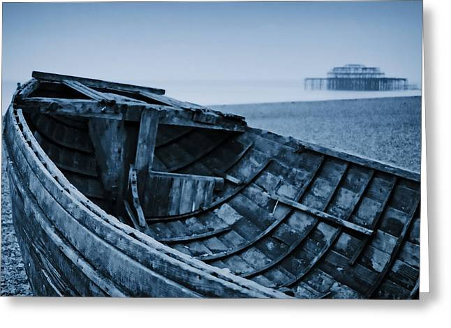 Rowboat Digital Art Greeting Cards - Beached at Brighton Greeting Card by Tony Grider