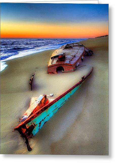 Pea Island Greeting Cards - Beached Beauty Greeting Card by Dan Carmichael