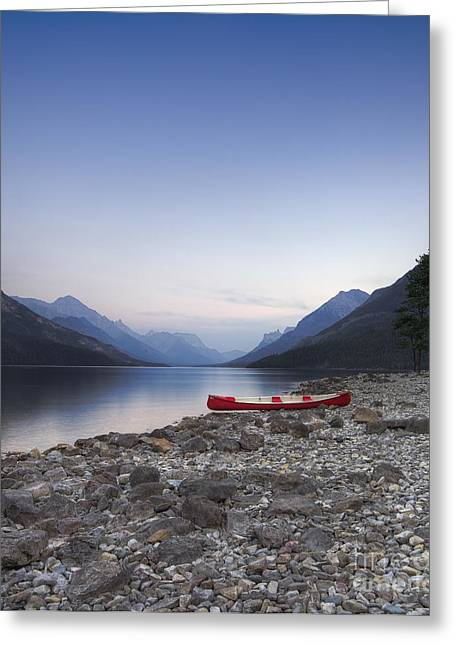 Alberta Landscape Greeting Cards - Beached Canoe Awaits Nightfall Greeting Card by Royce Howland