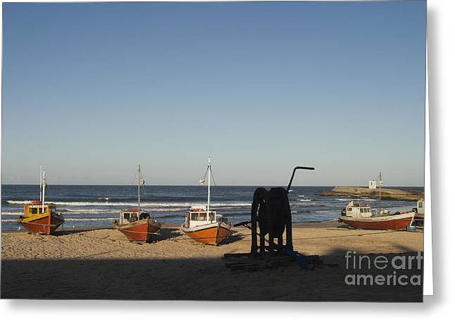 Casting A Shadow Greeting Cards - Beached Fishing Boats Greeting Card by Roberto Westbrook