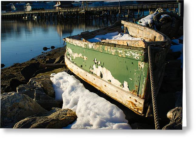 Winter In Maine Greeting Cards - Beached in Booth Bay Greeting Card by Timothy Donahue