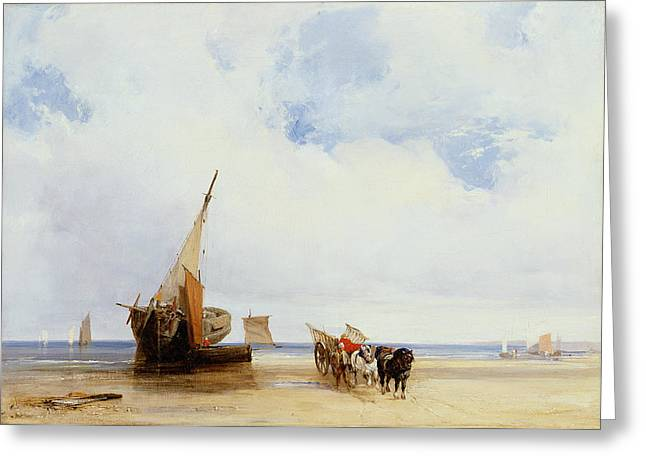 Blue Sky And Sand Greeting Cards - Beached Vessels and a Wagon near Trouville Greeting Card by Richard Parkes Bonington