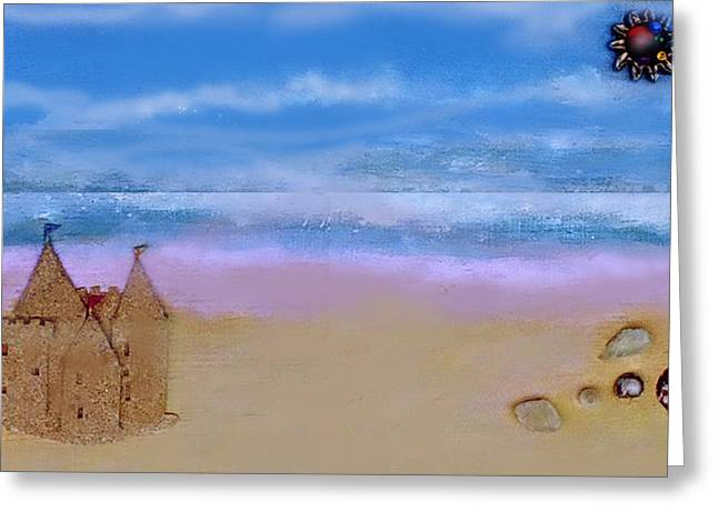 Sand Castles Mixed Media Greeting Cards - Beaches Castle Greeting Card by Mary Ann  Leitch