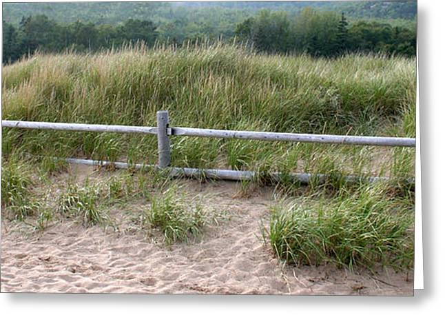 Chris Hill Greeting Cards - Beachside Fence Panorama Greeting Card by Chris Hill