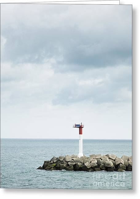 Harbour Wall Greeting Cards - Beacon at Harbor Entrance Greeting Card by Jon Boyes