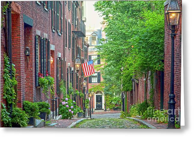July Greeting Cards - Beacon Hill Greeting Card by Susan Cole Kelly