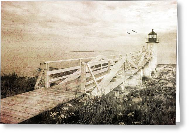 Maine Shore Greeting Cards - Beacon Of Hope Greeting Card by Darren Fisher
