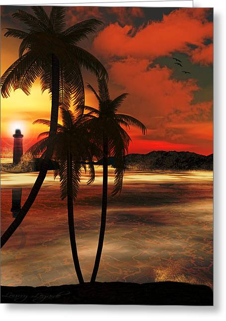 Coconut Trees Greeting Cards - Beacon Of Light Greeting Card by Lourry Legarde
