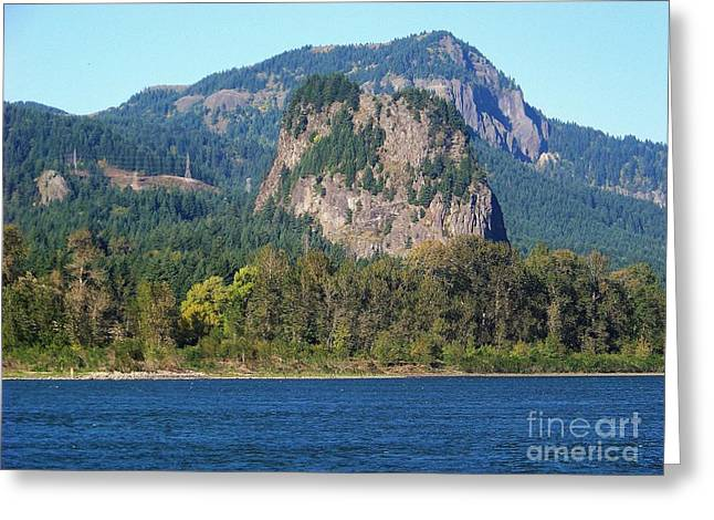 Bonneville Nationals Greeting Cards - Beacon Rock Standing Tall Greeting Card by Charles Robinson