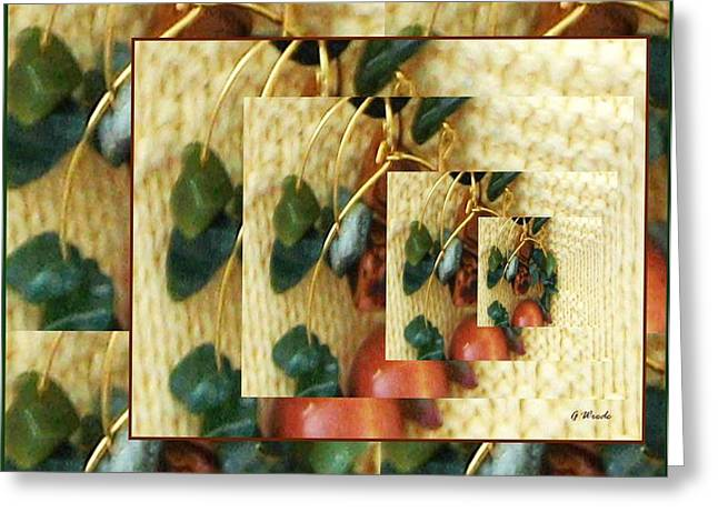Gold Necklace Greeting Cards - Beads on Ivory Knit Greeting Card by Gretchen Wrede