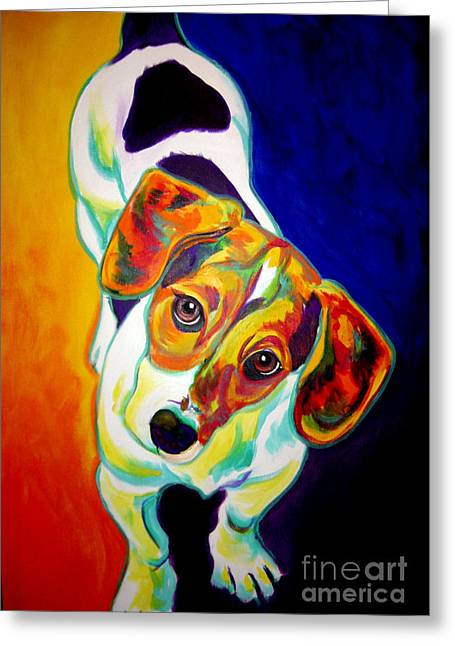 Beagle Artwork Greeting Cards - Beagle - Scooter Greeting Card by Alicia VanNoy Call