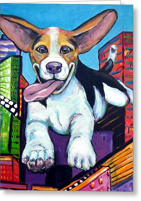 Beagle Flying Through City Greeting Card by Dottie Dracos