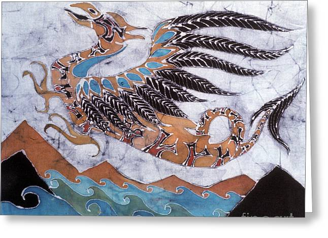 Flying Tapestries - Textiles Greeting Cards - Beaked Dragon Flies Above the Sea Greeting Card by Carol  Law Conklin