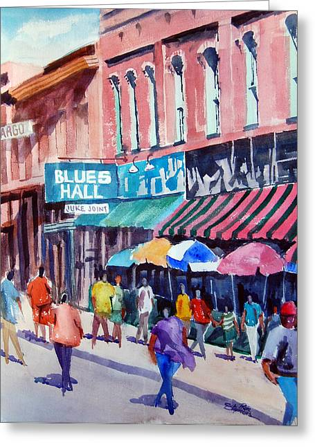 Beale Street Blues Hall Greeting Card by Ron Stephens