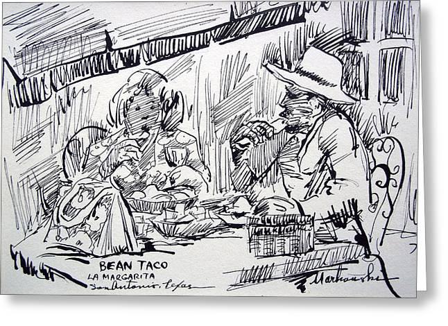 Waitress Drawings Greeting Cards - Bean Tacos at La Margarita Greeting Card by Bill Joseph  Markowski
