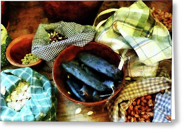 Vegetable Greeting Cards - Beans and Seeds Greeting Card by Susan Savad
