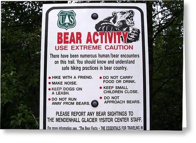 Food Safe Greeting Cards - Bear Activity Greeting Card by Linda Hutchins