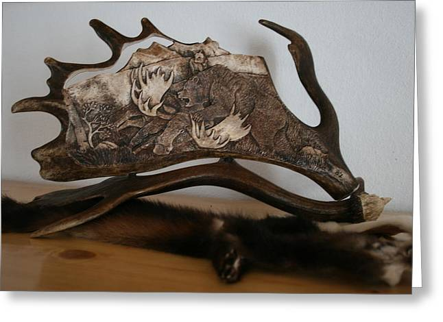 Wolf Sculptures Greeting Cards - Bear and wolf Greeting Card by Banucu Ioan