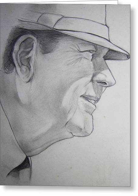 Crimson Drawings Greeting Cards - Bear Bryant Greeting Card by Nigel Wynter