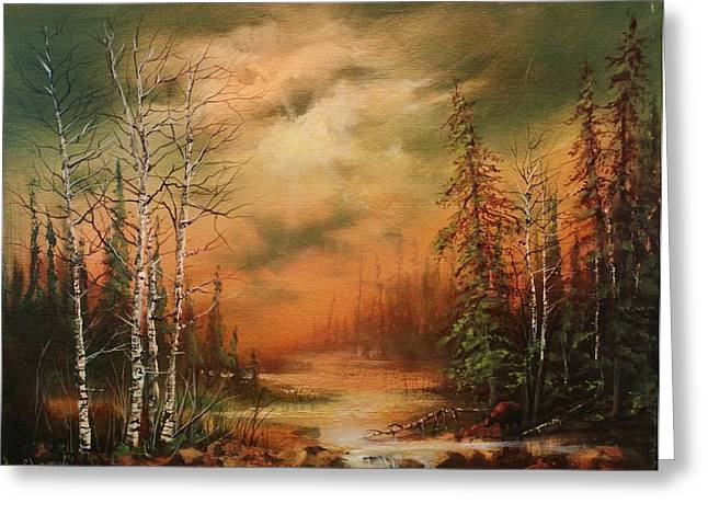Northwoods Greeting Cards - Bear Creek Greeting Card by Tom Shropshire
