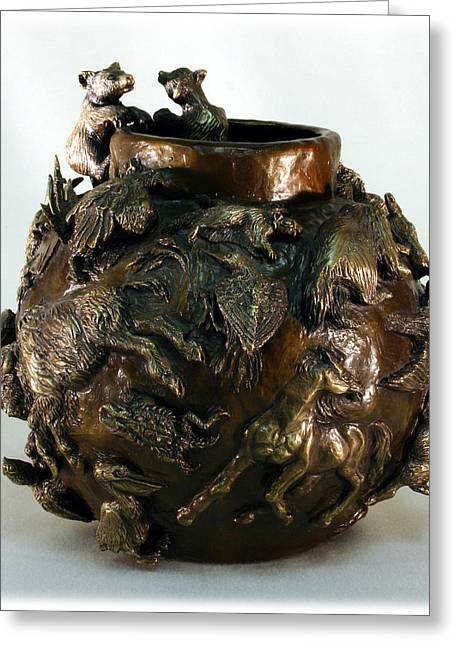 Horse Reliefs Greeting Cards - Dance of the Seasons - Bronze Bowl with Bear Cubs Greeting Card by Dawn Senior-Trask