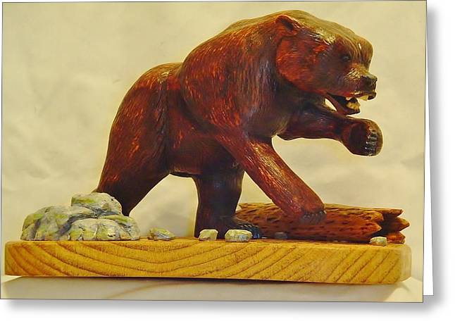 Wood Carving Sculptures Greeting Cards - Bear Encounter Greeting Card by Russell Ellingsworth