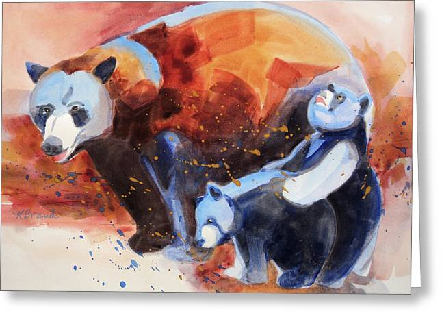 Sienna Greeting Cards - Bear Family Outing Greeting Card by Kathy Braud