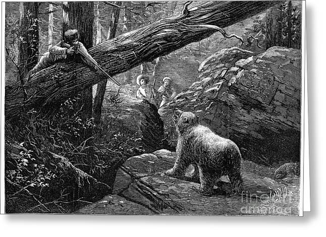 1876 Greeting Cards - Bear Hunt, 1876 Greeting Card by Granger