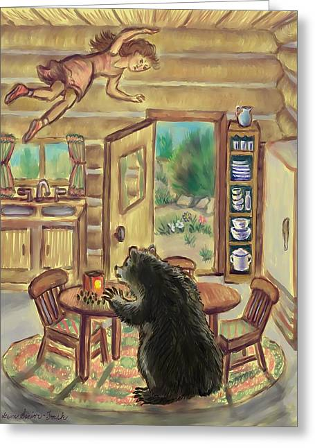 Floating Girl Greeting Cards - Bear in the Kitchen - Dream Series 7 Greeting Card by Dawn Senior-Trask