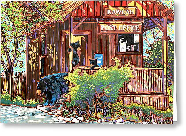Nadi Spencer Paintings Greeting Cards - Bear Post Greeting Card by Nadi Spencer