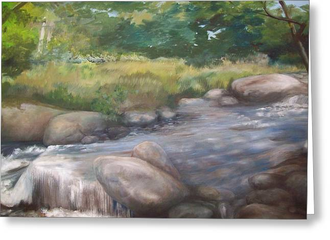 Maine Landscape Paintings Greeting Cards - Bear River Greeting Card by Chris Wing