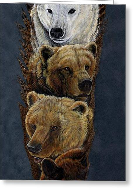 Kodiak Greeting Cards - Bear Totem Greeting Card by Sandra SanTara