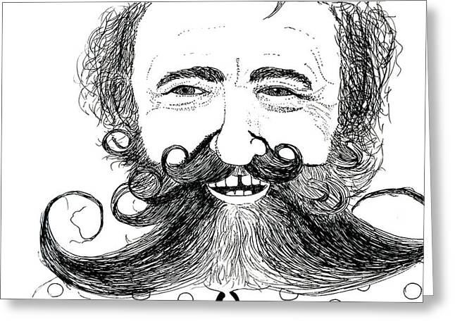 White Beard Mixed Media Greeting Cards - Beard man Greeting Card by Julia Shlepneva