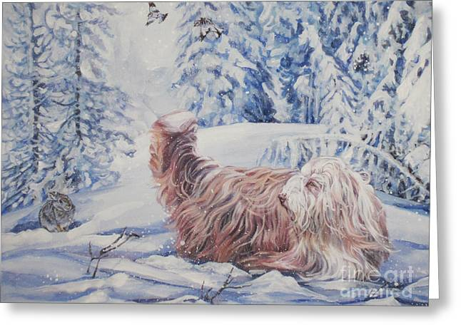 Collie Greeting Cards - Bearded Collie in the Snow Greeting Card by Lee Ann Shepard