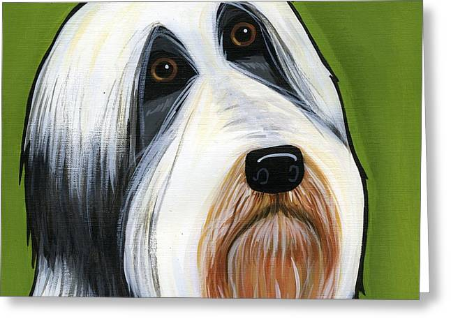 Collie Greeting Cards - Bearded Collie Greeting Card by Leanne Wilkes