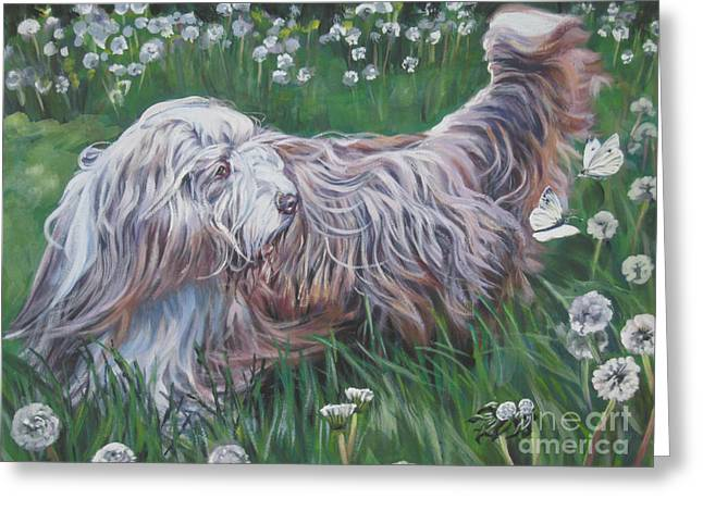 Collie Greeting Cards - Bearded Collie Greeting Card by Lee Ann Shepard