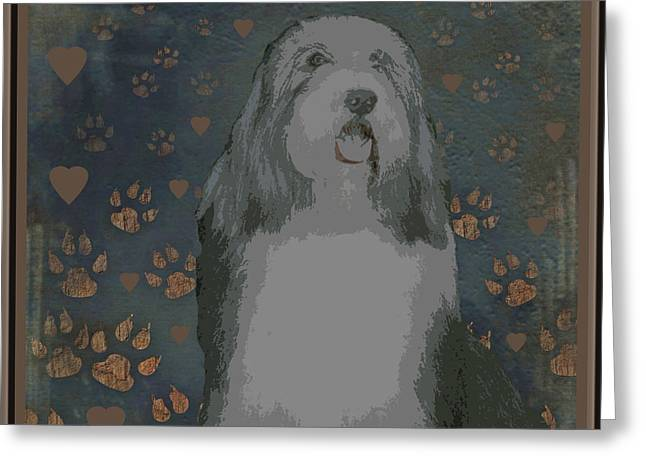 Bearded Collie Greeting Card by One Rude Dawg Orcutt