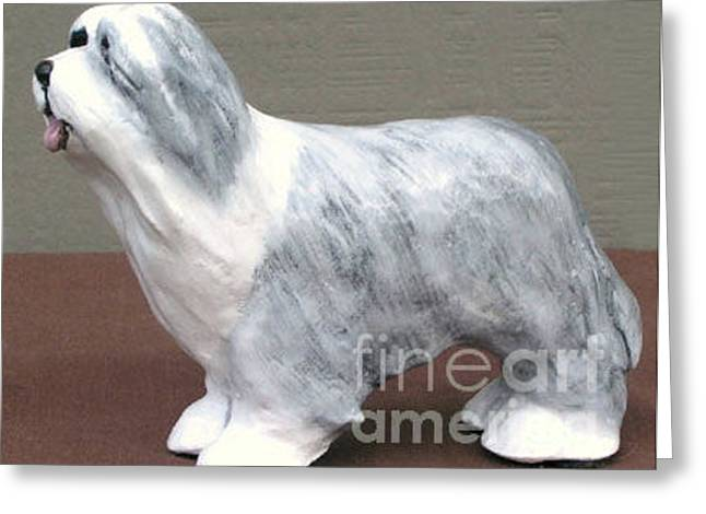 Collie Sculptures Greeting Cards - Bearded Collie Greeting Card by Ron Hevener