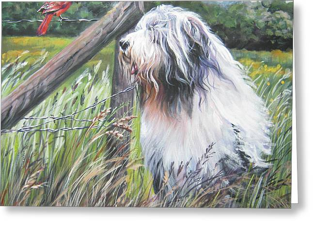 Collie Paintings Greeting Cards - Bearded Collie with Cardinal Greeting Card by L AShepard