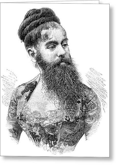 E Black Greeting Cards - Bearded Lady, 19th Century Greeting Card by