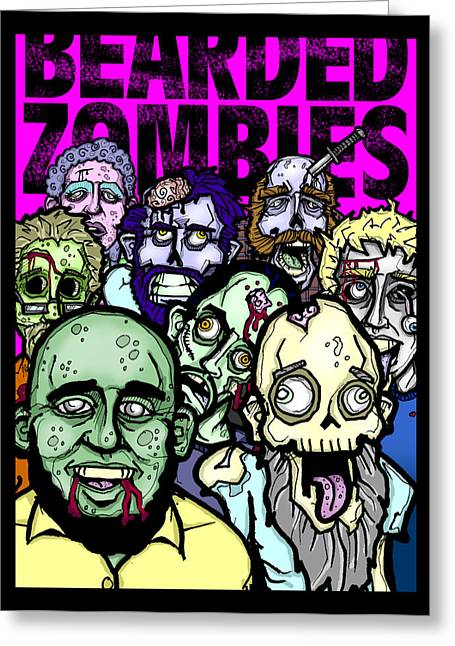 Creepy Digital Art Greeting Cards - Bearded Zombies Group Photo Greeting Card by Christopher Capozzi