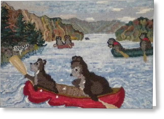 Bears Tapestries - Textiles Greeting Cards - Bears in Canoes Greeting Card by Brenda Ticehurst