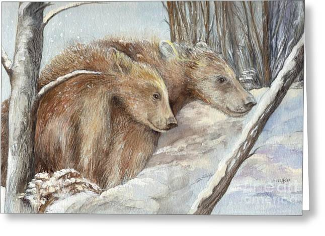 Nature Scene Mixed Media Greeting Cards - Bears in The Snow Greeting Card by Morgan Fitzsimons