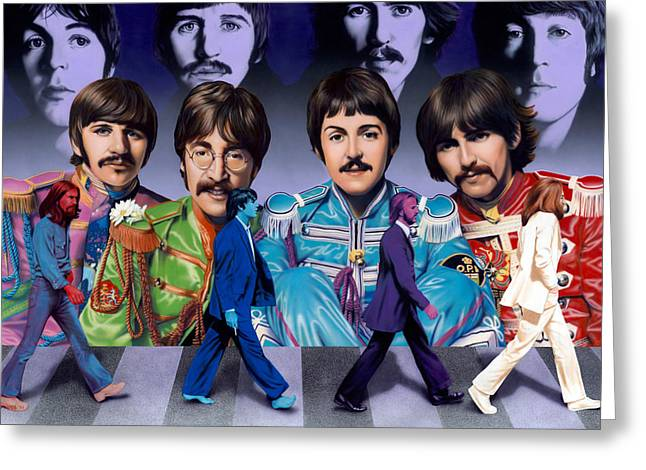 Beatles John Lennon Paul Mccartney George Harrison Ringo Starr Music Rock Icon Greeting Cards - Beatles - Walk Away Greeting Card by Ross Edwards